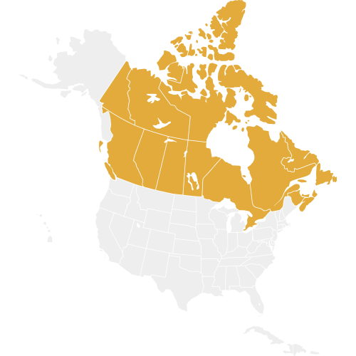 Canada is highlighted on a map of North America in gold