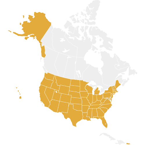 United States are highlighted on a map of North America in gold
